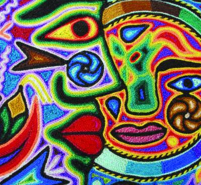 colorful Mexican art of faces