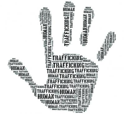 trafficking word cloud shaped like a handprint