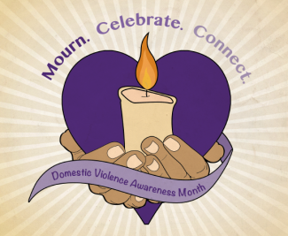 mourn, celebrate, connect DVAM logo