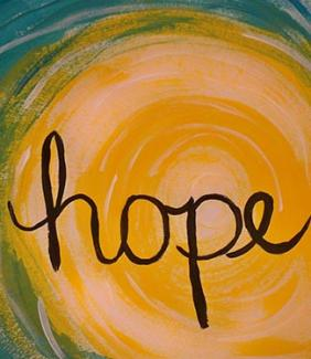 watercolor with text that says hope