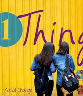 two teens facing yellow background with #1Thing logo