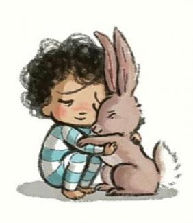 drawing of child hugging a rabbit