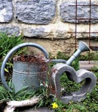 watering can and heart