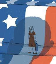 drawing of a woman and the American flag