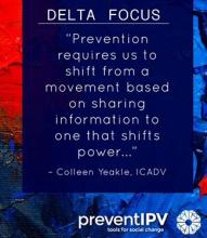 """Prevention requires us to shift from a movement based on sharing information to one that shifts power."" - Colleen Yeakle, ICADV"