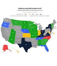 map of U.S. state child marriage laws
