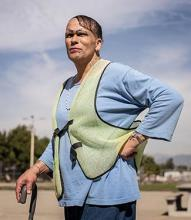 Jolina Olivia Diaz, a transgender female prisoner, walks the yard of the men's prison in Chino, California