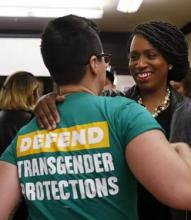 Democratic congressional nominee Ayanna Pressley embraced Bridget Schaaff, a federal policy fellow with the National LGTBQ Task Force