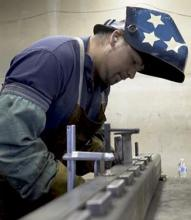 "Alan ""Superman"" Gonzalez welding. Alan Gonzalez, an undocumented immigrant from Mexico who is a U Visa applicant"