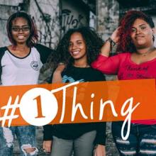 three teens with #1Thing logo