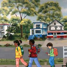 mural of children walking to school