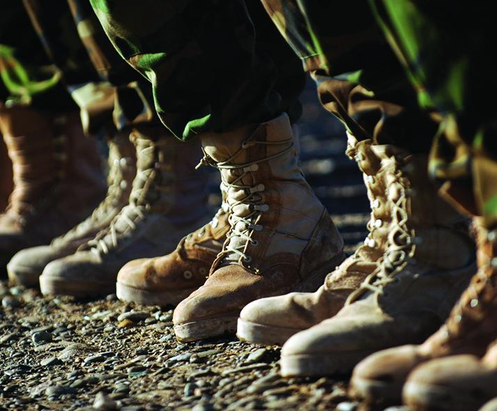 women's army boots lined up