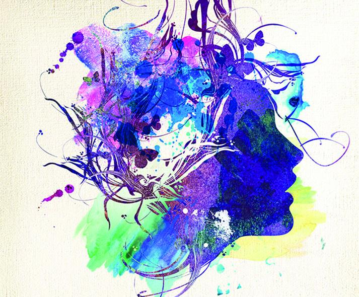 painting of woman's profile with chaos in head