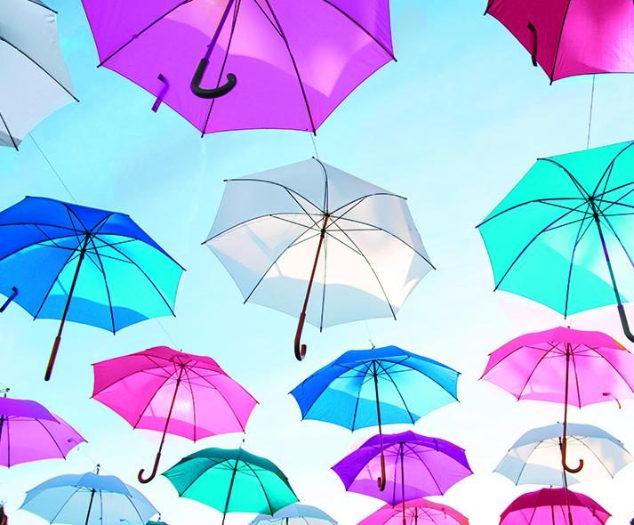pink blue and white umbrellas